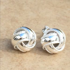 Jewelry - Sterling Silver 925 Twisted Rope Texture Love Knot